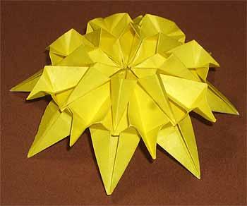 簡単 折り紙:ひまわり 折り紙 立体-origamisho.com