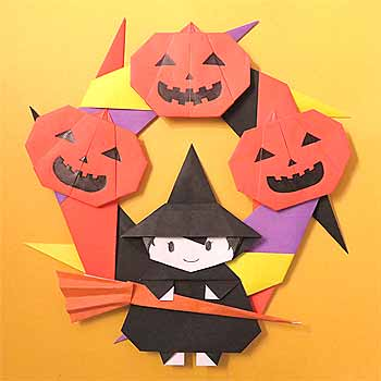 折り紙でハロウィンリースの折り方子供も簡単飾りの作り方 セツの