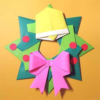 クリスマス 折り紙:クリスマス 折り紙 リース-origamisho.com
